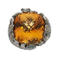 Estate Jewelry:Rings, Citrine, Colored Diamond, Diamond, White Gold Ring. ...