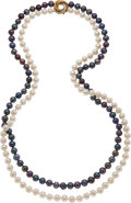 Estate Jewelry:Necklaces, South Sea Cultured Pearl, Gold Necklace, David Webb . ...