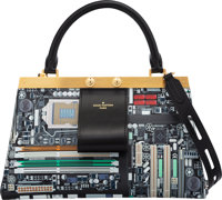 "Louis Vuitton Limited Edition ""Motherboard"" Crown Frame Bag Condition: 1 10"" Width x 6"" Height x"