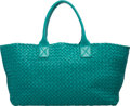 "Luxury Accessories:Bags, Bottega Veneta Teal Intrecciato Nappa Leather Cabat Tote Bag. Condition: 2. 22"" Width x 10"" Height x 9"" Depth. ..."