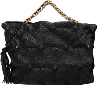 """Chanel Black Starburst Quilted Lambskin Leather Tote Bag Condition: 2 16"""" Width x 11"""" Height x 8"""""""