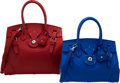 Luxury Accessories:Bags, Ralph Lauren Set of Two: Red & Blue Leather Ricky Bags. Condition: 3. See Extended Condition Report for Sizes.... ... (Total: 2 Items)