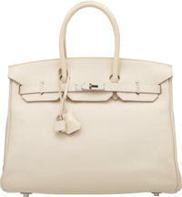 Hermès 35cm Parchment Swift Leather Birkin Bag with Palladium Hardware N Square, 2010 Condition: