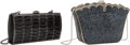 Luxury Accessories:Bags, Judith Leiber Set of Two: Black Baguette & Graphite Crystal Minaudieres. Condition: 1. See Extended Condition Report f... (Total: 2 Items)