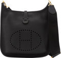 """Luxury Accessories:Bags, Hermès Black Togo Leather Evelyne III PM with Gold Hardware. C, 2018. Condition: 1. 11.5"""" Width x 12.5"""" Height x 3..."""