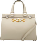 "Luxury Accessories:Bags, Gucci White Leather Small Zumi Bag. Condition: 2. 10.5"" Width x 8.5"" Height x 4"" Depth. ..."