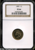 Proof Indian Cents: , 1859 1C PR 66 NGC. ...