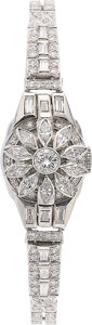 Estate Jewelry:Watches, Hamilton Lady's Diamond, Platinum Covered Dial Watch. ...