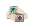 Estate Jewelry:Rings, Diamond, Ruby, Emerald, Platinum, Gold Ring. ...