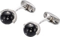 Estate Jewelry:Cufflinks, Diamond, Black Onyx, White Gold Cuff Links, Eli Frei