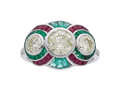 Estate Jewelry:Rings, Colored Diamond, Diamond, Ruby, Emerald, Platinum Ring. ...