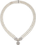 Estate Jewelry:Necklaces, Cultured Pearl, Diamond, Platinum-Topped Gold, Gold Necklace. ...