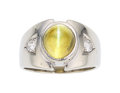 Estate Jewelry:Rings, Gentleman's Cat's-Eye Chrysoberyl, Diamond, White Gold Ring. ...