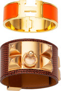 Luxury Accessories:Accessories, Hermès Set of Two: Etrusque Lizard CDC & Orange Enamel Clic Clac H Bracelets. Condition: 2. See Extended Condition Rep... (Total: 2 Items)