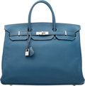 Luxury Accessories:Bags, Hermès 40cm Blue Thalassa Togo Leather HAC Birkin Bag wit...