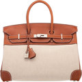 "Luxury Accessories:Bags, Hermès 35cm Fauve Barenia Leather & Toile Birkin Bag with Palladium Hardware. K Square, 2007. Condition: 3. 14"" Wi..."