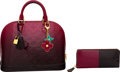 Luxury Accessories:Bags, Louis Vuitton Set of Three: Raspberry and Black Ombre Alma PM Bag, Wallet & Bag Charm. Condition: 3. See Extended Cond... (Total: 3 )
