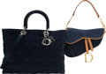 Luxury Accessories:Bags, Christian Dior Set of Two: Denim Saddle Bag & Lady Dior Tote Bag. Condition: 2. See Extended Condition Report for Size... (Total: 2 Items)