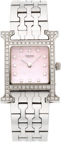 Luxury Accessories:Accessories, Hermès 21mm Stainless Steel Diamond & Light Pink Mother of Pearl Heure H Watch. Condition: 3. See Extended Condition R...