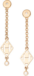 "Luxury Accessories:Accessories, Hermès Rose Gold & Diamond H Gambade Earrings. Condition: 1. 1.5"" Length. ..."