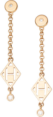 "Hermès Rose Gold & Diamond H Gambade Earrings Condition: 1 1.5"" Length"