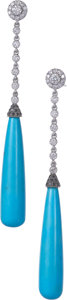 Estate Jewelry:Earrings, Colored Diamond, Diamond, Turquoise, White Gold Earrings, Eli Frei. ...