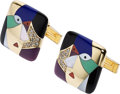 Estate Jewelry:Cufflinks, Diamond, Multi-Stone, Gold Cuff Links, Asch Grossbardt . ...
