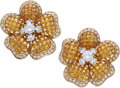 Estate Jewelry:Earrings, Yellow Sapphire, Diamond, Gold Earrings. ...