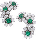 Estate Jewelry:Earrings, Emerald, Diamond, Platinum Earrings, Tiffany & Co. . ...