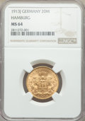 German States:Hamburg, German States: Hamburg. Free City gold 20 Mark 1913-J MS64 NGC,...