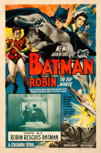 "The New Adventures of Batman and Robin (Columbia, 1949). Fine/Very Fine on Linen. One Sheet (27"" X 41"") Chapte..."