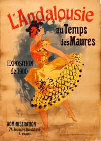 "1900 Paris Exhibition (c. 1899). Very Good on Linen. French Exposition Poster (36.75"" X 51.25"") ""Andalusi..."