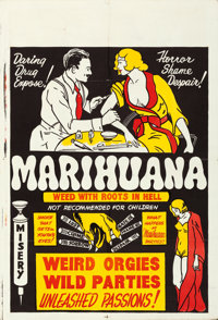 "Marihuana (Roadshow Attractions, 1936). Folded, Very Fine. One Sheet (28"" X 41"")"