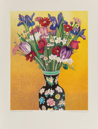 Beth Van Hoesen (1926-2010) Flowers, Flowered Vase (Oriental Vase), 1992 Lithograph in colors on Arc