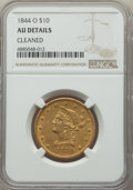 Liberty Eagles: , 1844-O $10 -- Cleaned -- NGC Details. AU. NGC Census: (39/206). PCGS Population: (42/60). CDN: $1,600 Whsle. Bid for proble...