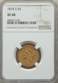 1874-S $5 XF40 NGC. NGC Census: (14/48). PCGS Population: (13/37). CDN: $1,400 Whsle. Bid for problem-free NGC/PCGS XF40...