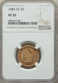 1882-CC $5 VF35 NGC. Variety 1-A. Even wear on this Choice VF 1882-CC half eagle leaves most major design elements bold...