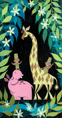 "Mary Blair ""It's a Small World"" Africa Concept Painting (Walt Disney, 1964/66)"