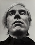 Photographs:Gelatin Silver, Arnold Newman (American, 1918-2006). Andy Warhol at the Factory, 1973. Gelatin silver. 13-1/2 x 10-1/2 inches (34.3 x 26...