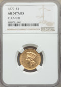Three Dollar Gold Pieces, 1870 $3 -- Cleaned -- NGC Details. AU. NGC Census: (16/213). PCGS Population: (33/166). CDN: $1,600 Whsle. Bid for problem-...