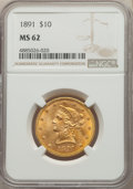 Liberty Eagles: , 1891 $10 MS62 NGC. NGC Census: (225/50). PCGS Population: (162/64). CDN: $781.92.Whsle. Bid for problem-free NGC/PCGS MS62....