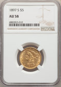 Liberty Half Eagles: , 1897-S $5 AU58 NGC. NGC Census: (152/106). PCGS Population: (61/86). CDN: $530 Whsle. Bid for NGC/PCGS AU58. Mintage 354,00...