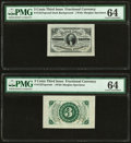 Fractional Currency:Third Issue, Fr. 1227SP 3¢ Third Issue Wide Margin Pair PMG Choice Uncirculated 64.. ... (Total: 2 notes)