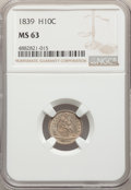 Seated Half Dimes: , 1839 H10C No Drapery MS63 NGC. NGC Census: (51/128). PCGS Population: (58/110). MS63. Mintage 1,069,150. ...