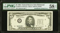 Insufficient Inking of Green Portion of Third Printing Error Fr. 1984-E $5 1995 Federal Reserve Note. PMG Choice About U...