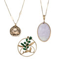Estate Jewelry:Necklaces, Multi-Stone, Gold Jewelry . ... (Total: 3 Items)