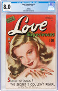 Golden Age (1938-1955):Romance, Love Experiences #1 Carson City Pedigree (Ace, 1949) CGC VF 8.0 White pages....
