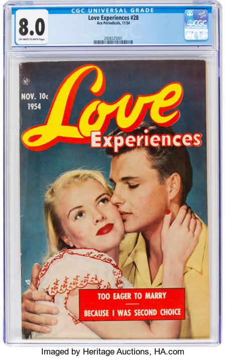 Love Experiences #28 (Ace, 1954) CGC VF 8.0 Off-white to white pages....