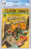 Golden Age (1938-1955):Classics Illustrated, Classic Comics #33 The Adventures of Sherlock Holmes - First Edition (Gilberton, 1947) CGC FN/VF 7.0 Cream to off-white pages....