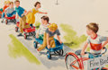 Fine Art - Work on Paper, Richard Wiley (American, 20th Century). Wagon Train, Dick and Jane illustration. Gouache on paper. 5-1/2 x 8 inches (14....